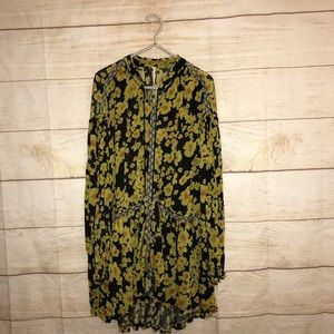 Free people sz XS yellow floral long sleeve dress
